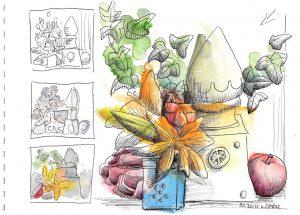 Urban Sketching Kurs Bildkomposition mit Farbe