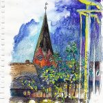 Urban Sketching in Eutin bei Nacht