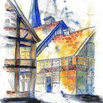 Zeichnung der Eutiner Fassaden