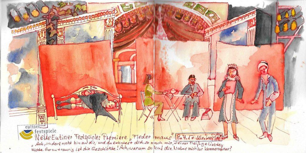 Skizzen-Ausstellung Spielzeit Eutiner Festspiele Urban Sketching