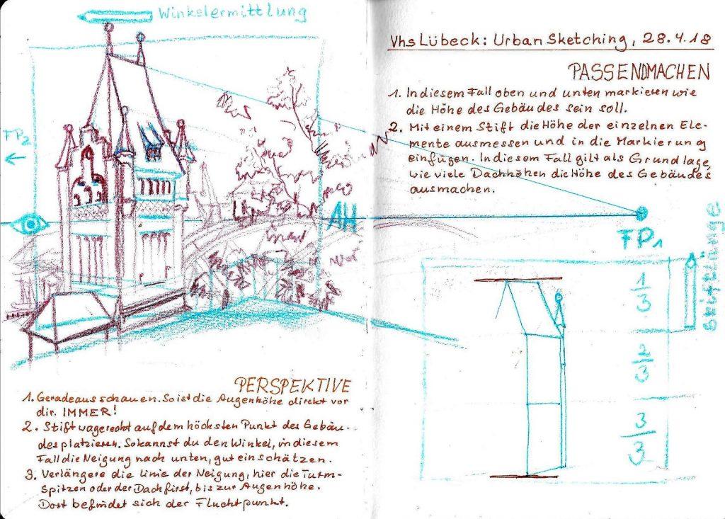 Urban Sketching in Lübeck Perspektive